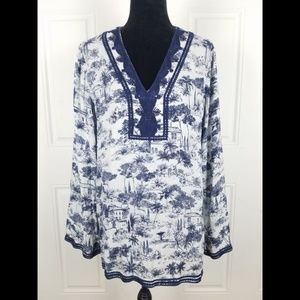 Tory Burch Tunic Top XL Silk Long Sleeve V Neck